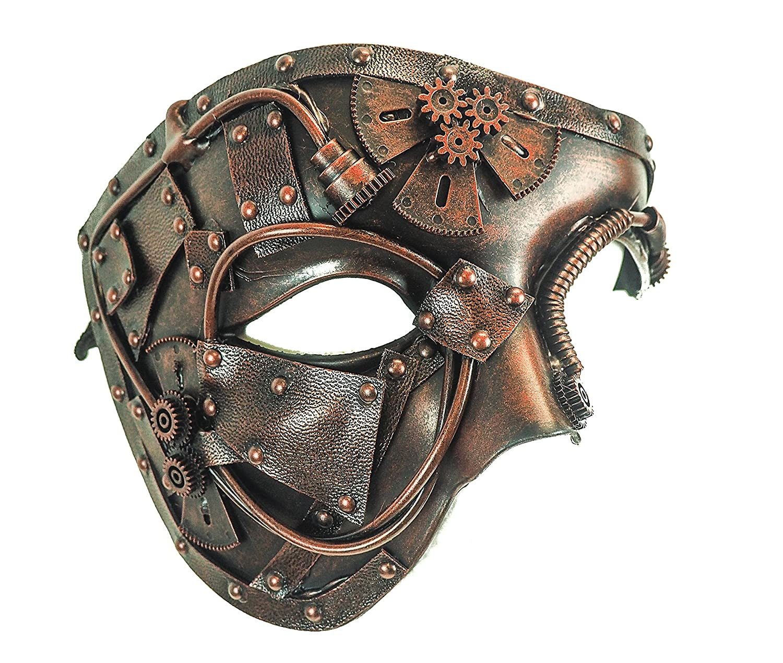 Steampunk Half Mask Gear Copper Halloween Party Cyber