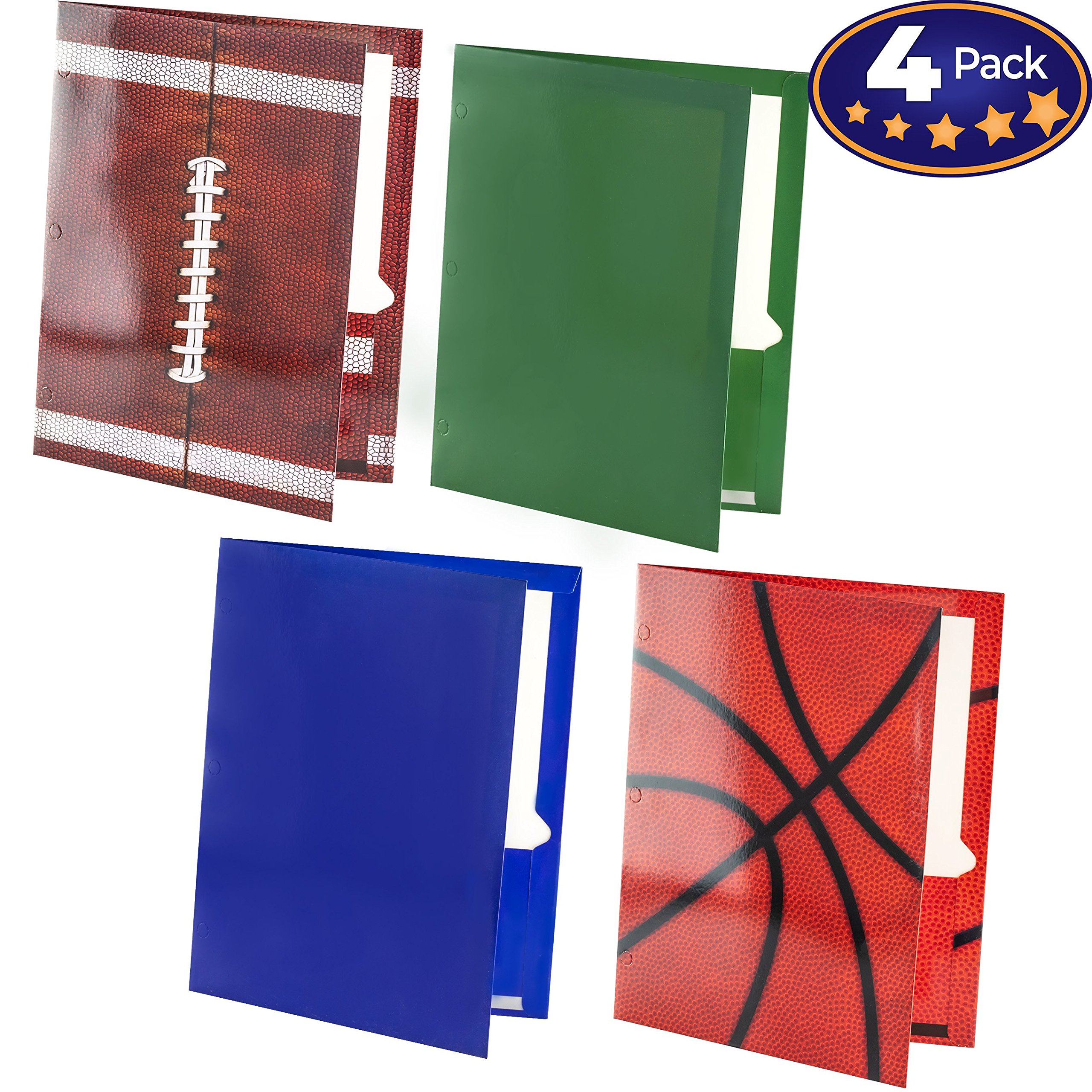Premium 2 Pocket Laminated Folders 4 Pack. Our 3 Hole, 12-1/2 x 9-1/2 inch Portfolios Fit Easily Into Any Students Standard School Trapper Keepers Or Binders. Essential Supply for Homework and Notes
