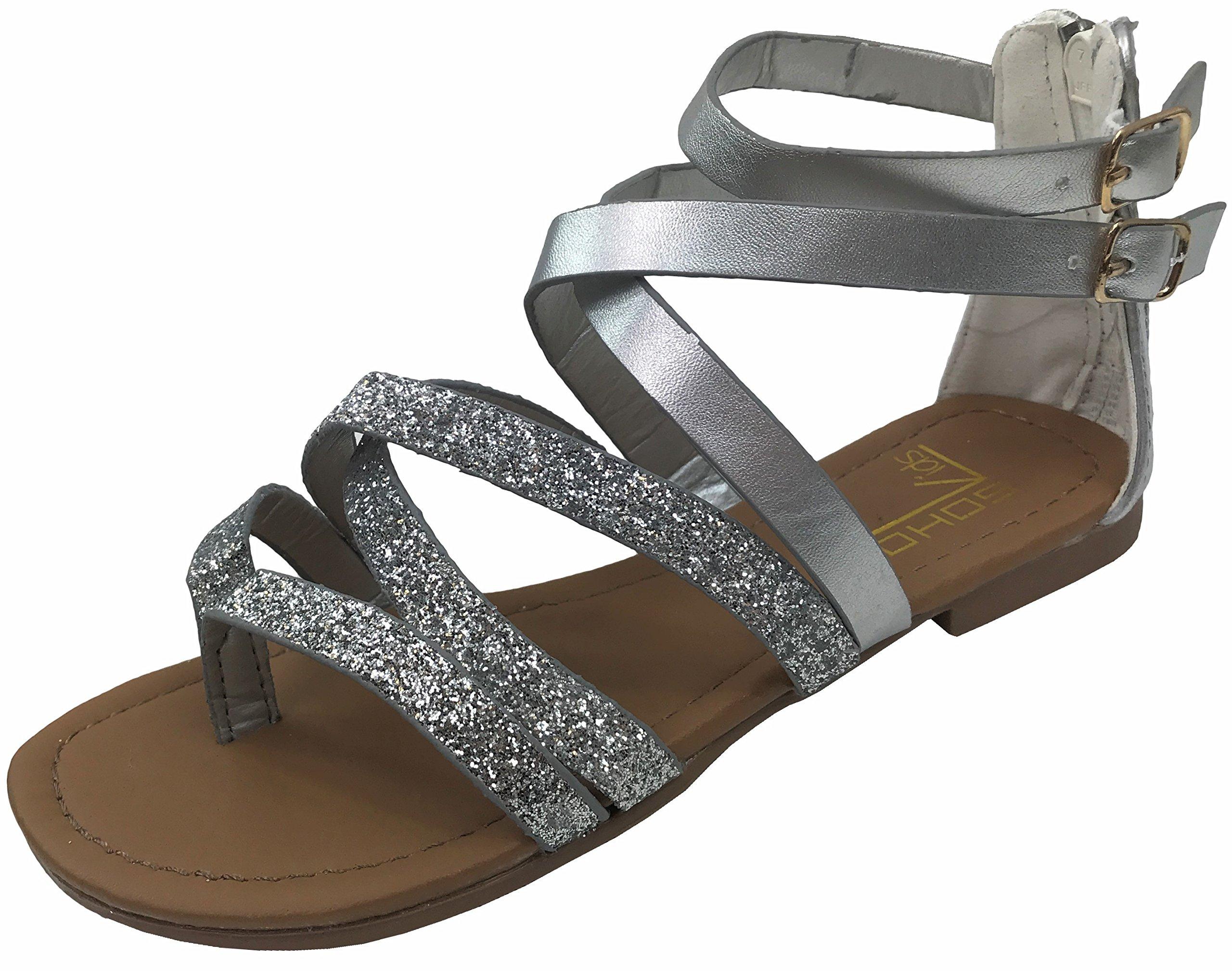 Girls Kids Gladiator Strappy Summer Sandals Silver Glitter 4