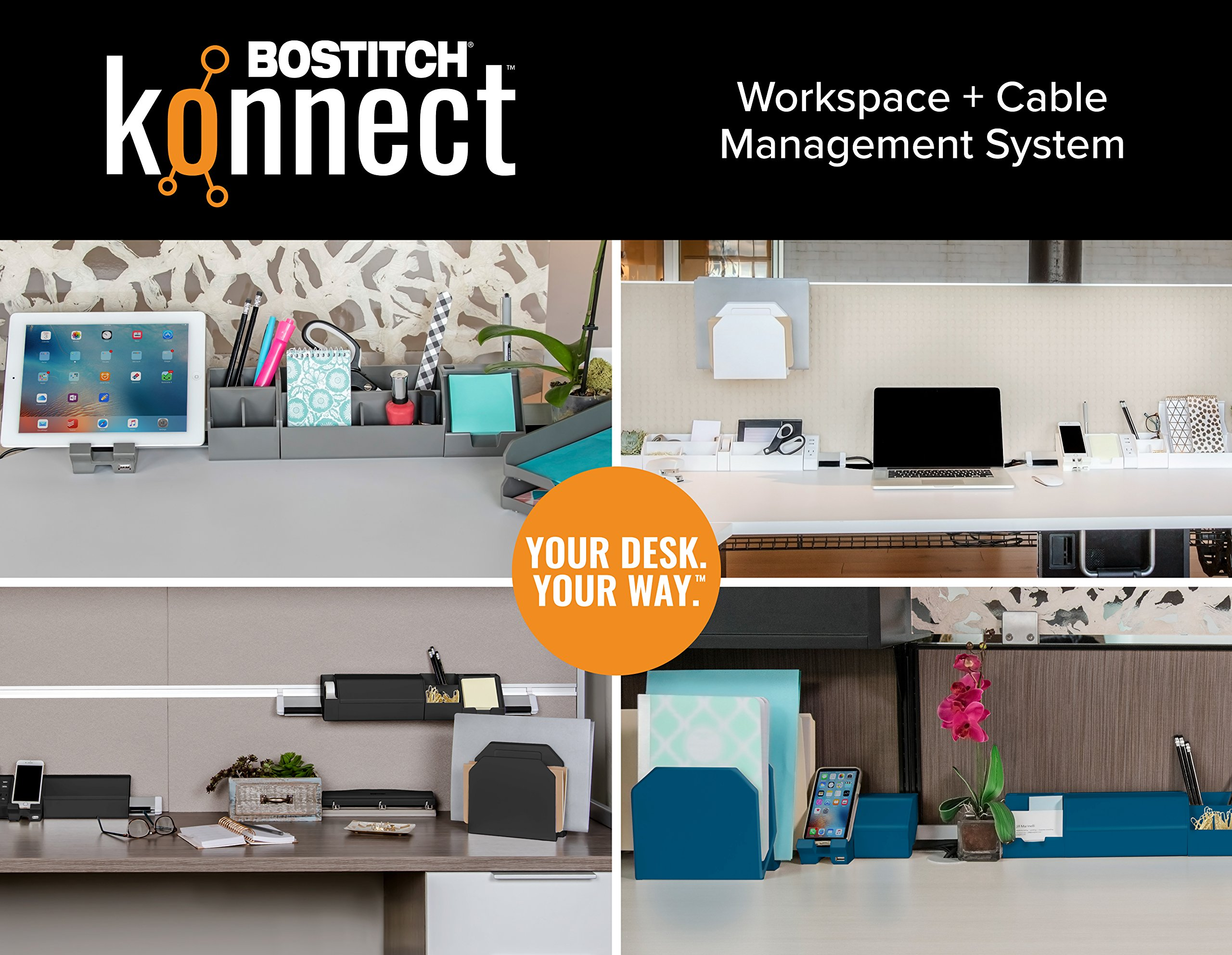 Bostitch Konnect 17-Piece Desktop Organizer Kit, Includes Cable Management Rails, Power Hub, Charging Phone Dock, Tape Dispenser, Sticky Notes, Storage Bins, Black (KT-CKIT5-BLK) by Bostitch Office (Image #7)