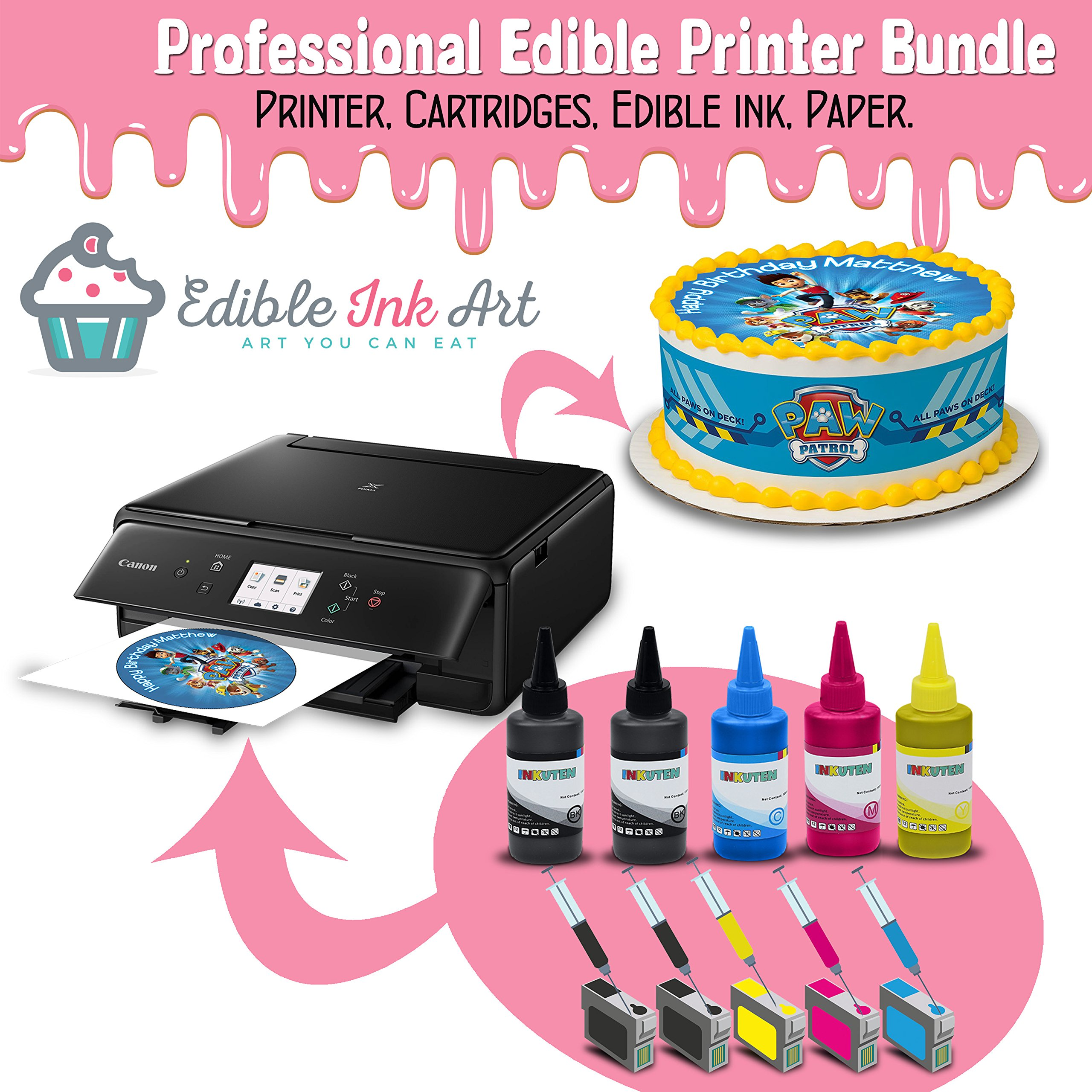 Edible Printer for cakes - Comes with Refillable Edible Ink Cartridges, 24 Premium Frosting Sheets and 500ml Edible Ink