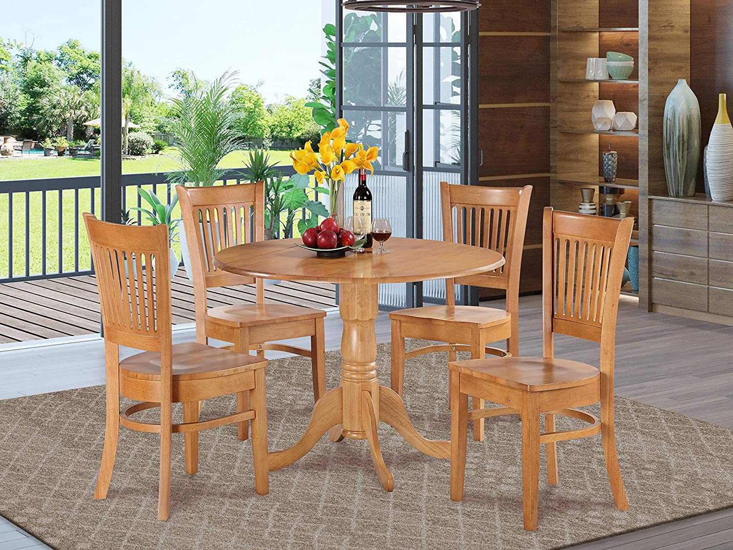 5 Pc Kitchen Nook Dining Set Round Table And 4 Dinette Chairs Chairs Table Chair Sets