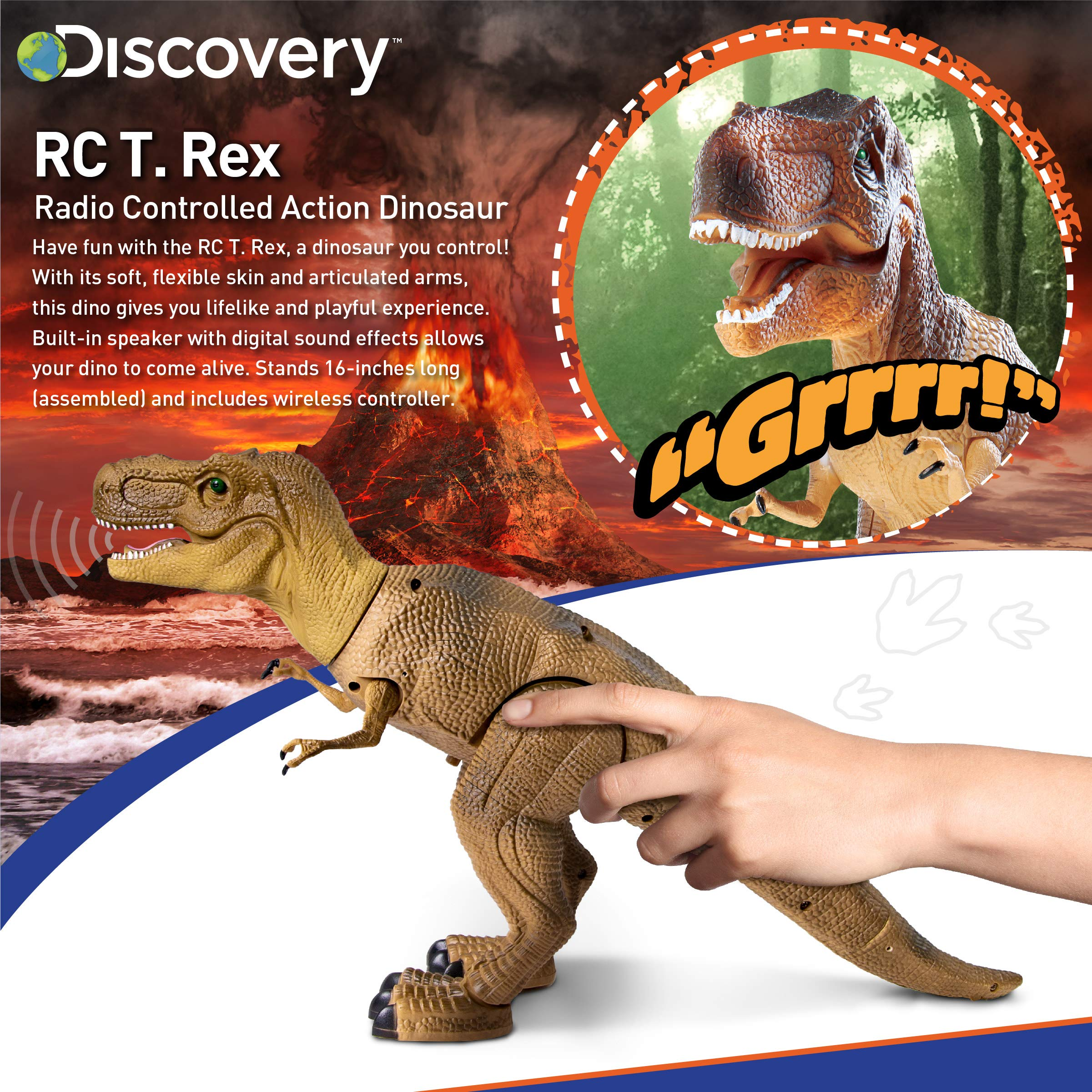 Discovery Kids Remote Control RC T Rex Dinosaur Electronic Toy Action Figure Moving & Walking Robot w/Roaring Sounds & Chomping Mouth, Realistic Plastic Model, Boys & Girls 6 Years Old+ by Discovery Kids (Image #2)