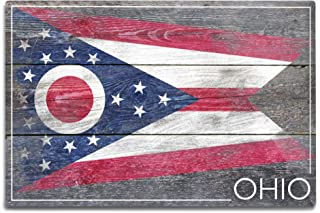 product image for Lantern Press Rustic Ohio State Flag (12x18 Aluminum Wall Sign, Wall Decor Ready to Hang)