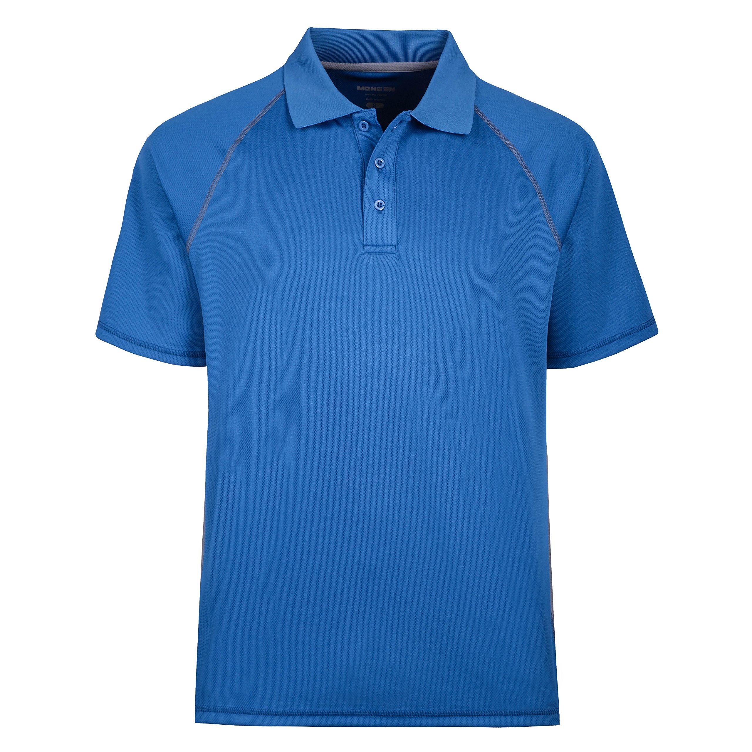 MOHEEN Men's Short Sleeve Moisture Wicking Performance Golf Polo Shirt, Side Blocked (5XL, Blue)