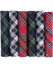 OCTAVE Mens 100% Cotton Tartan Print Handkerchiefs - Gift Boxed 6 Pack