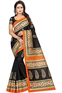 36739a2986a3f4 Kanchan Women's Kalamkari Khadi Silk Saree With Blouse (BLACK ...
