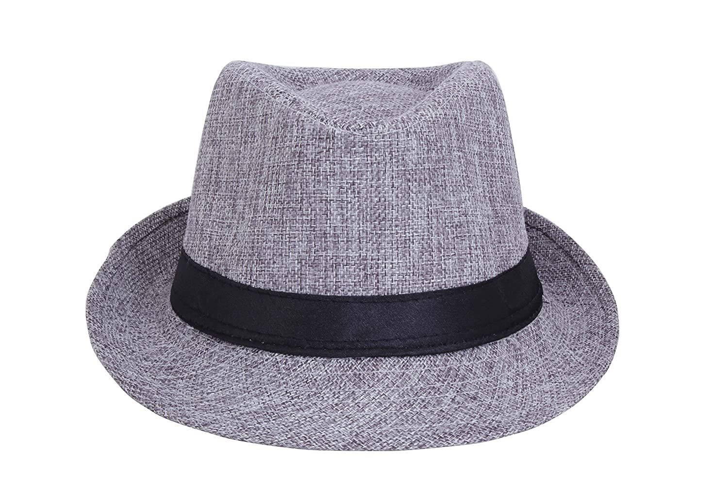 c9e4a302bd3 FabSeasons Men s Silk Jute and Polyester Fedora Hat (Grey)  Amazon.in   Clothing   Accessories