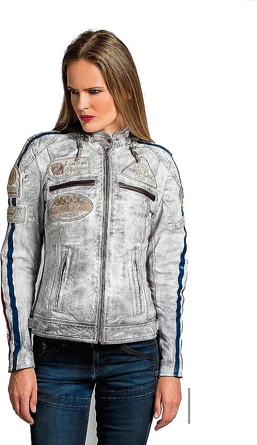 Cazadora Moto de Piel de Cordero 3XL Armadura Removible para Espalda Hombros y Codos Aprobada por la CE  Tan Chaqueta Cuero Mujer Chaqueta Moto Mujer de Cuero Urban Leather 58 LADIES