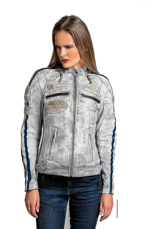 Damen Motorradjacke mit Protektoren, White, Groß e: 2XL Ur Leather UR-295