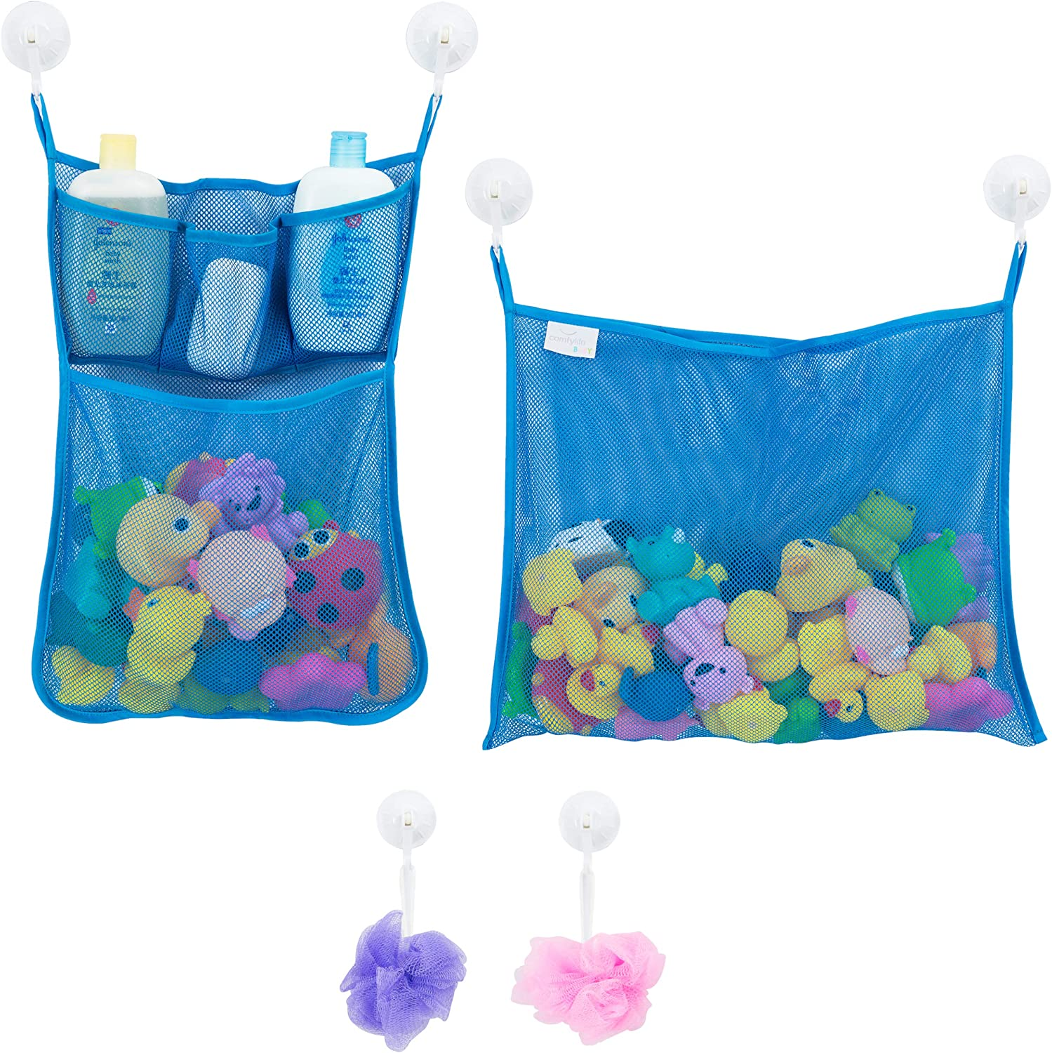 Bath Time Tidy Storage Toy Suction Cup Bag Mesh Bathroom Organiser Net JJUK