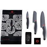 Kikusumi 3-Piece Knife Set - SUMI Black Handle + Black Ceramic Blade - 7 inch Gyuto Chef Knife + 5 inch Santoku + 3 inch Paring + Luxury Gift Boxed Knife Set + 3 Custom Knife Sheath + Free App (Black)