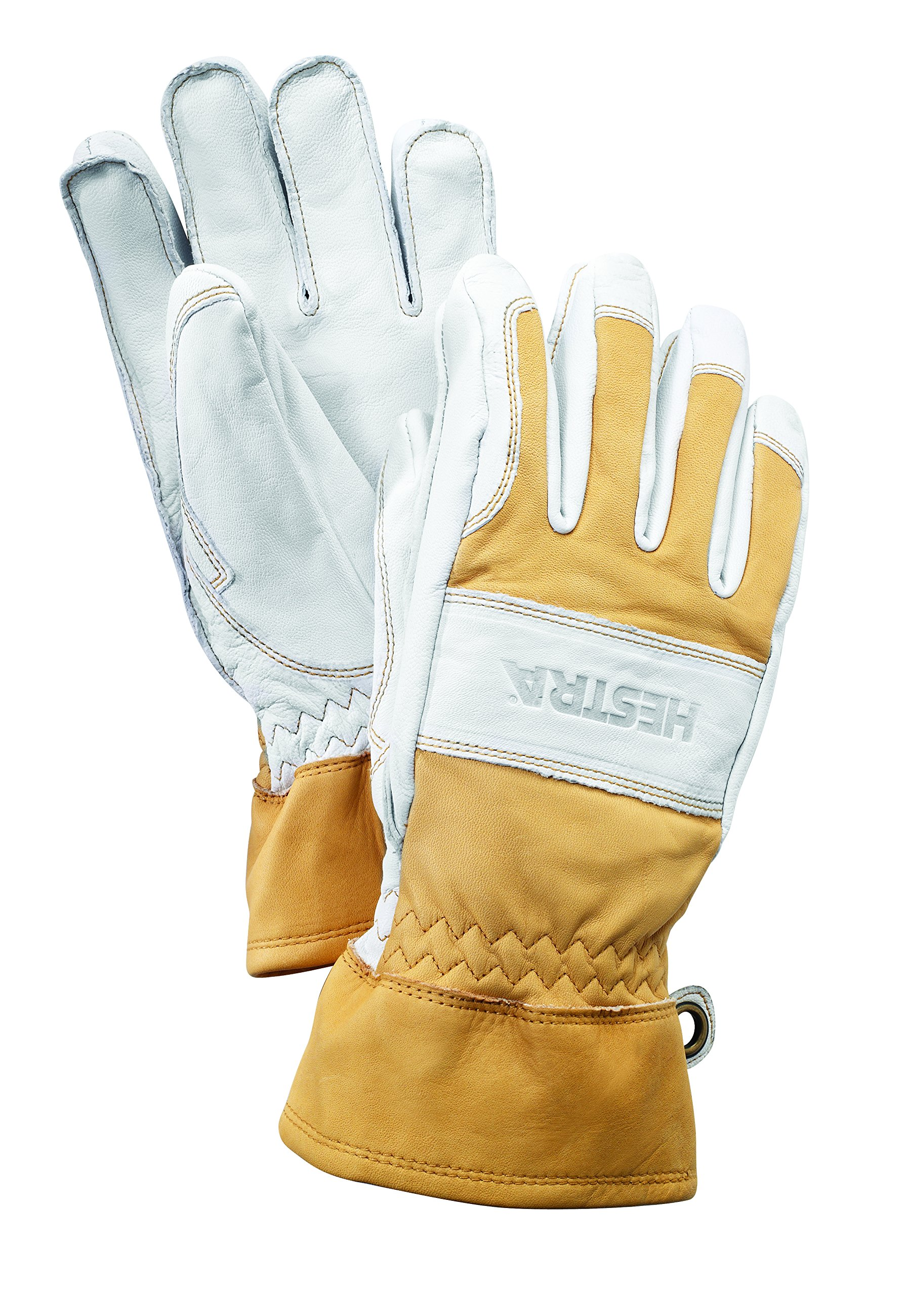 Hestra Guide Short Leather Glove with Wool Lining,Natural Brown/Off White,8