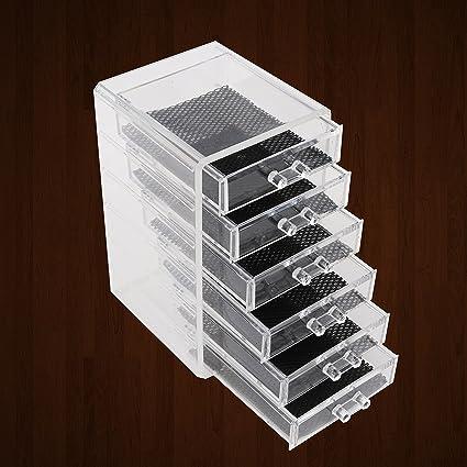 Kurtzy Premium Quality 6 Drawer Acrylic Vanity Organizer   Makeup Jewelry  Stationary Holder Organizer Box