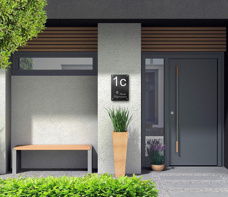 Hausnummer 23x30 cm mit Gravur mit /über 80 Motiven Familien-Haus Familienschild T/ürschilder f/ür die Haust/ür mit Namen Edles T/ürschild