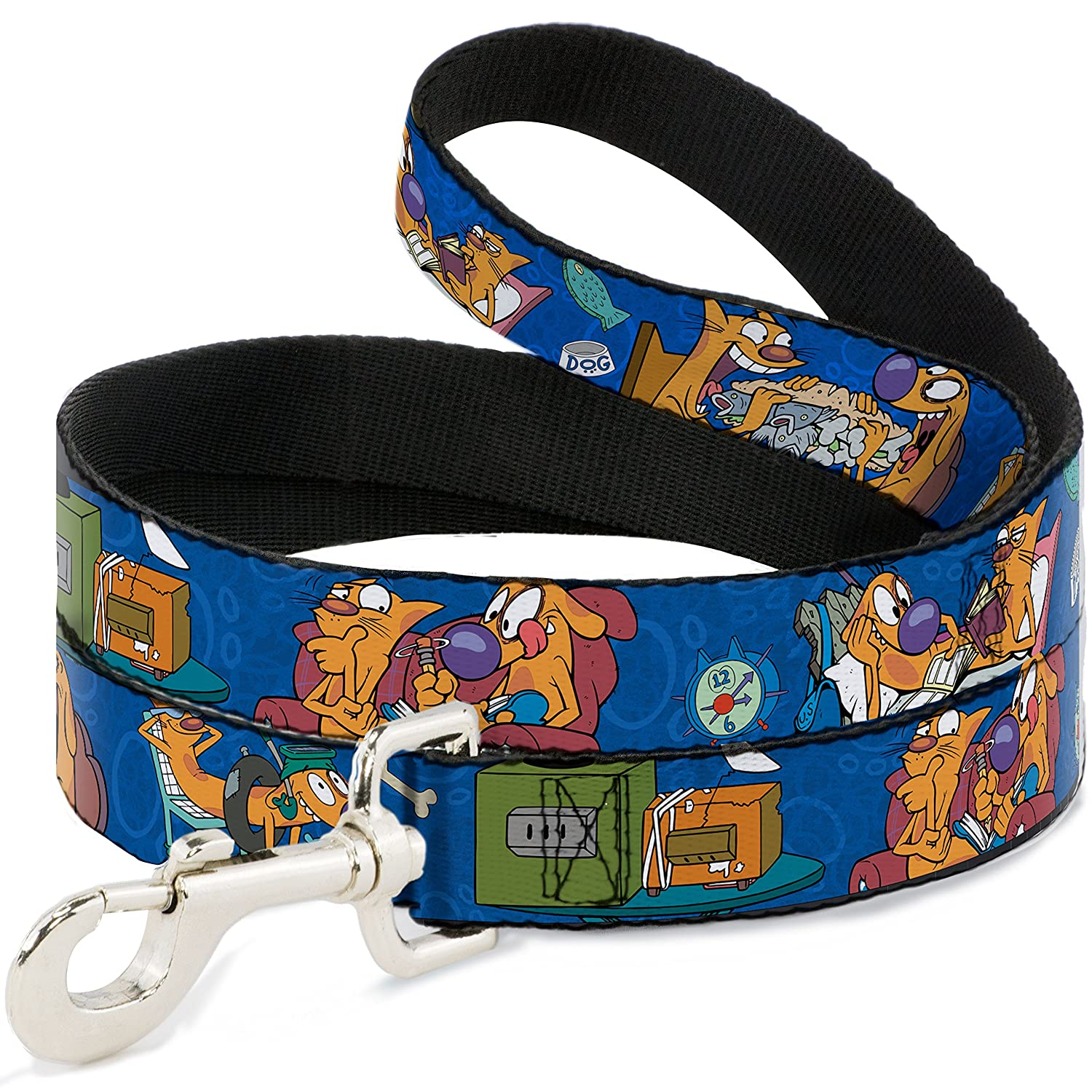Buckle-Down DL-6FT-WCT003 Dog Leash, Cat Dog Hanging Out Poses bluee, 6'