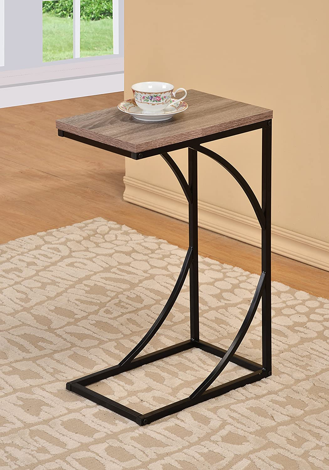 Reclaimed Wood Look Finish Black Frame Snack Side Magazine End Table eHomeProducts COMIN18JU001858