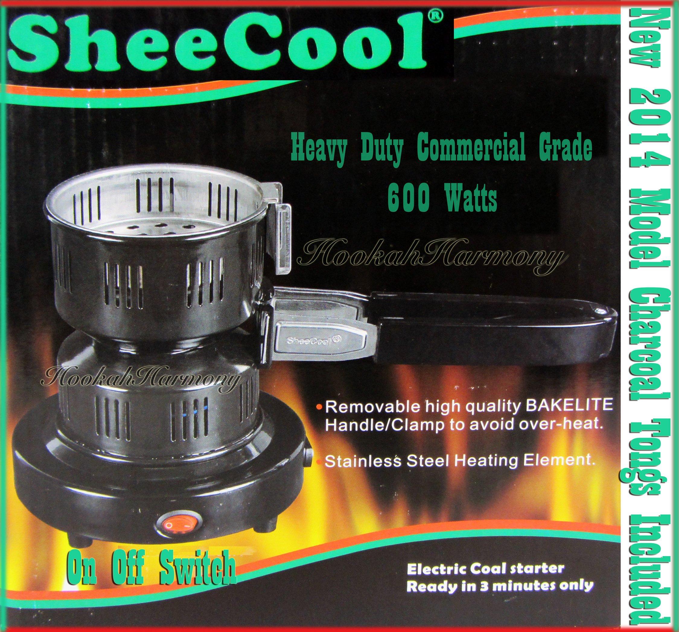 Deluxe Coco Burner Hookah Electric Heater Stove Charcoal Coal Starter Sheecool Tongs
