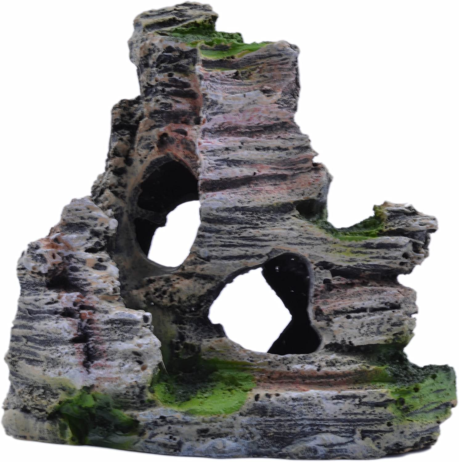 pranovo Mountain View Decor Rockery Landscape Rock Hiding Cave Tree Aquarium Ornament Fish Tank Decoration