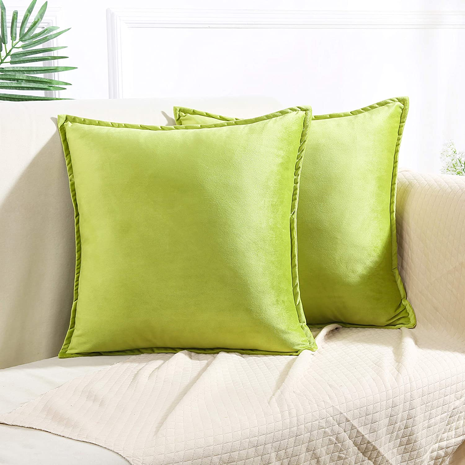 Colorxy Velvet Decorative Throw Pillow Covers, 18x18 Inch, Set of 2, Apple Green
