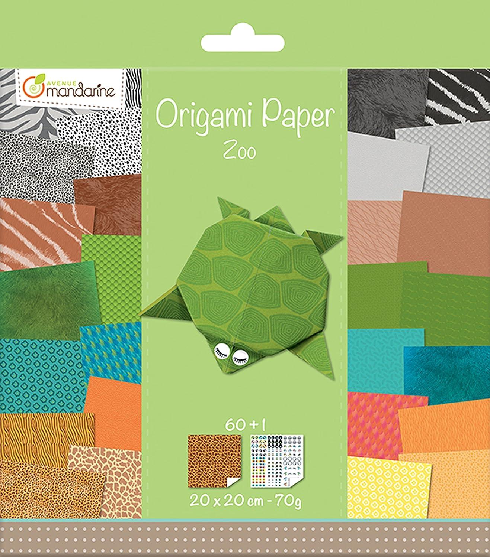 Avenue Mandarine 52504MD - Carta per origami motivo: allo zoo Clairefontaine