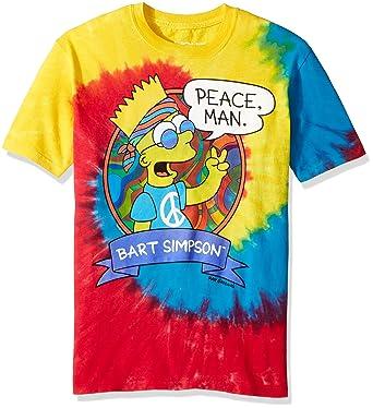 31d6a3475e6 Image Unavailable. Image not available for. Color  Liquid Blue Men s  Simpsons Peace Man Tie Dye Short Sleeve T-Shirt ...