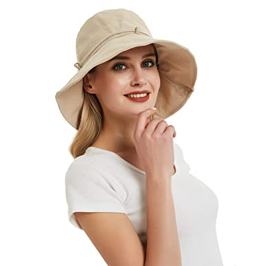 f6b74b82 EINSKEY Womens Sun Hat Summer Foldable Wide Brim Cotton Bucket Hat Ladies  Floppy Beach Hat with Chin Strap - Adjustable Size: Amazon.co.uk: Clothing