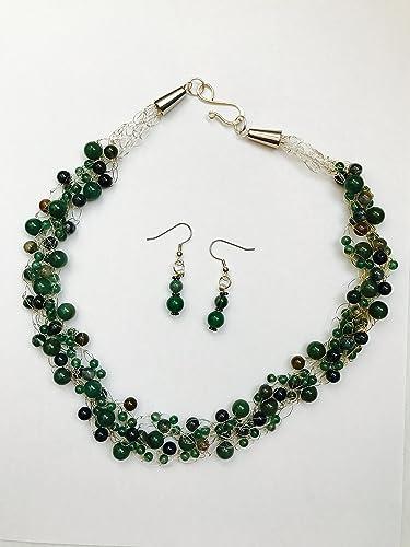 Amazoncom Green Jaspers Crochet Wire Necklace Handmade