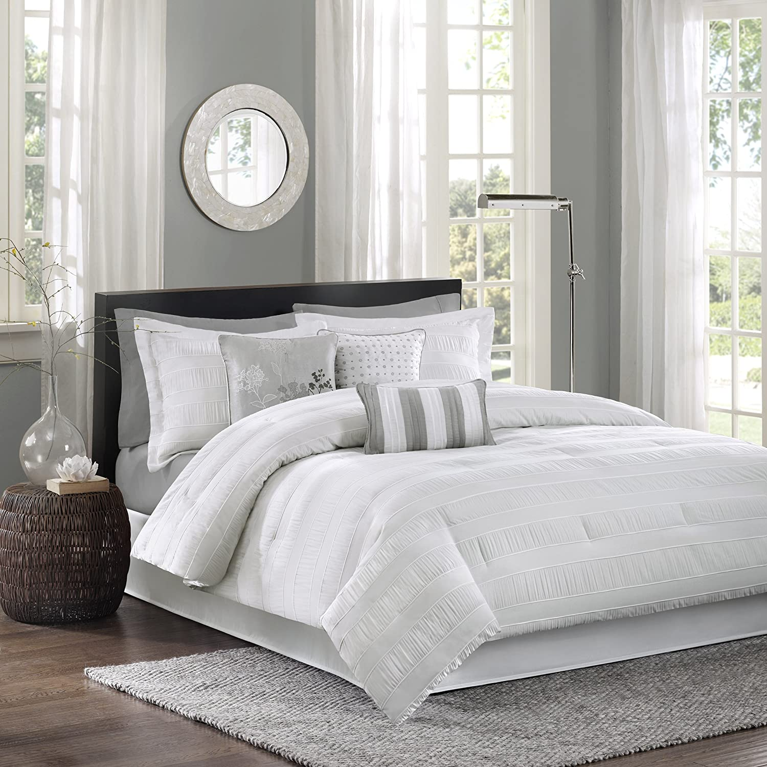 Madison Park Hampton 7 Piece Comforter Set, King, White