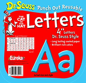 Eureka School 845034 Back to School Dr. Seuss The Cat in The Hat Blue Punch Out Deco Letters Classroom Decorations, 217pc, 4'' H