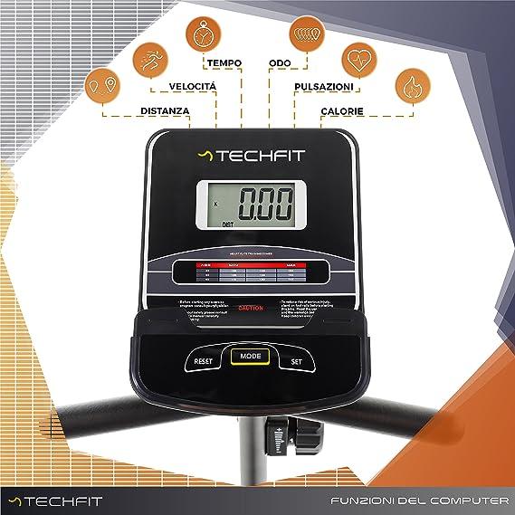 TechFit R410 Bicicleta Estática Reclinada, Ideal para el Entrenamiento de Recuperación, Sillín Ajustable, Sensores de Pulso y Monitor LCD: Amazon.es: ...
