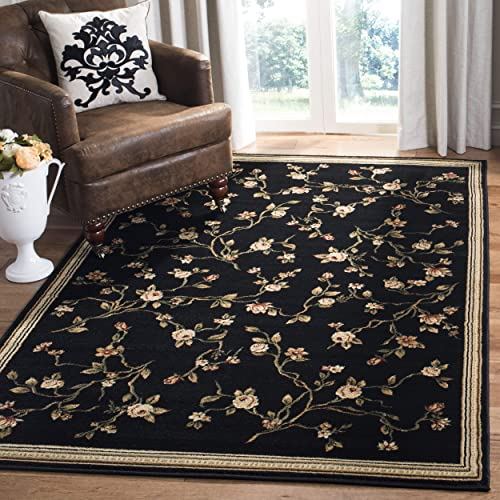 Safavieh Lyndhurst Collection LNH220A Traditional Floral Black Area Rug 8 x 11