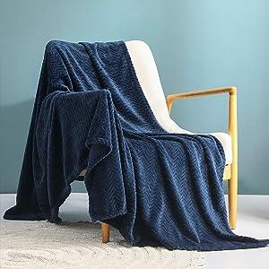 "Exclusivo Mezcla Large Flannel Fleece Throw Blanket, Jacquard Weave Wave Pattern (50"" x 70"", Navy Blue) - Soft, Warm, Lightweight and Decorative"