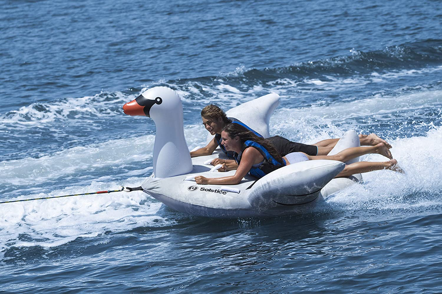 Solstice Lay-On Swan Towable Inflatable Raft Fits 1-2 Riders
