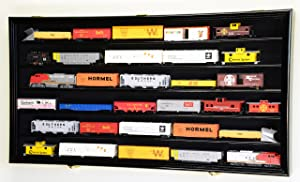 HO Scale Model Train Display Case Cabinet Wall Rack w/98% UV Protection- Lockable -Black