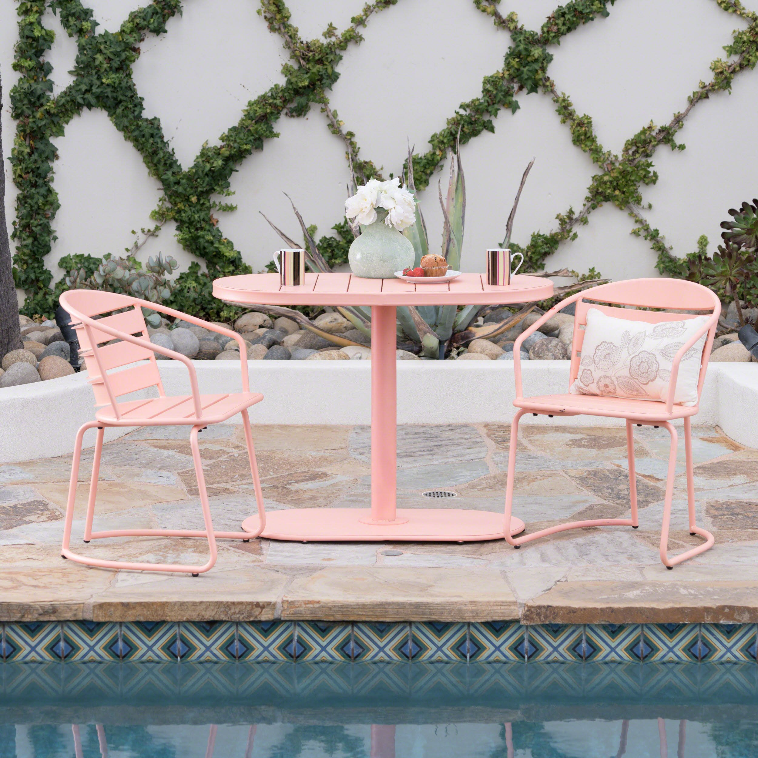 Great Deal Furniture Santa Monica Outdoor Matte Coral Finished Iron Bistro Set