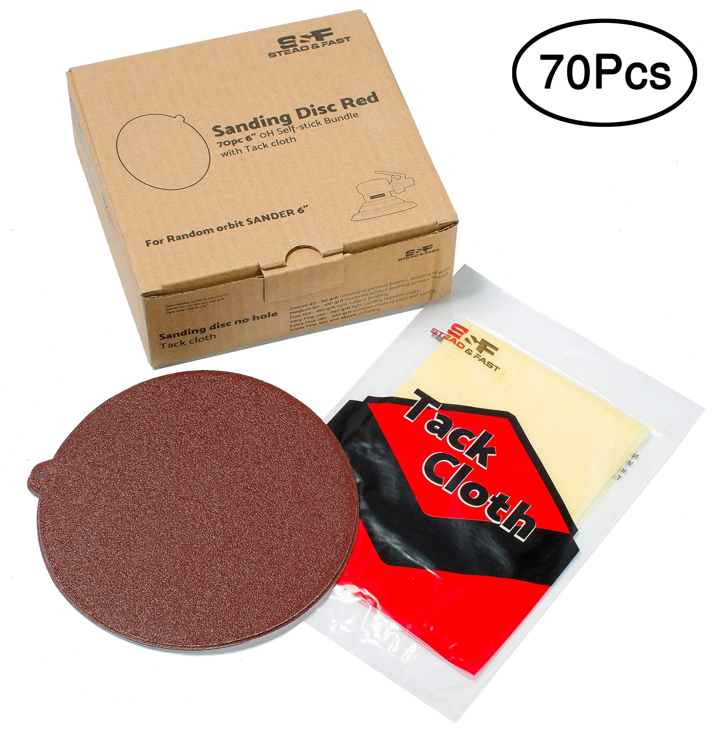 Stead & Fast 70 PCS 6 Inch Sanding Disc Self Stick Bundle with Tack Cloth, PSA Sandpaper for Disc , Random Orbital and DA Sander, 80 100 120 180 240 320 400 grit