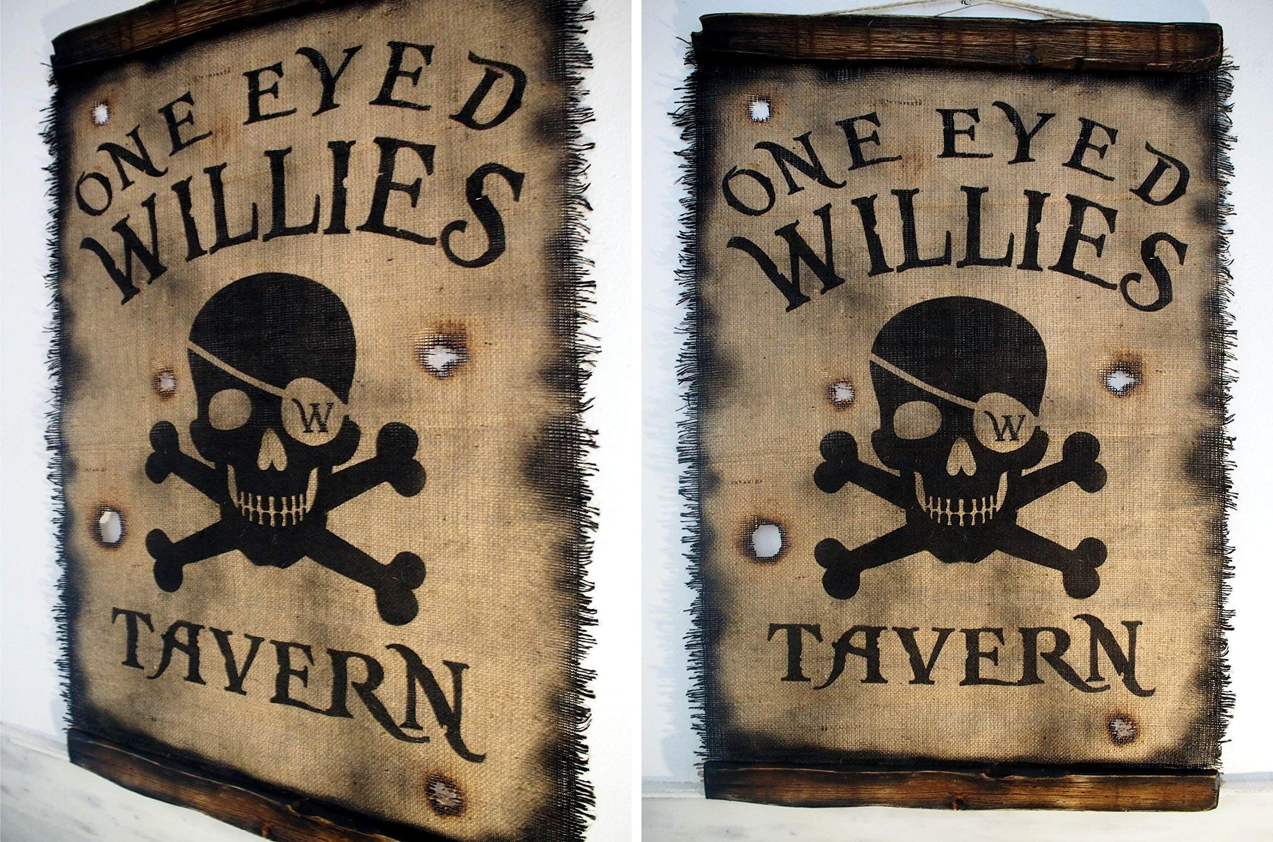 Custom Flag wall decor made of worn out burlap and wood | Rustic Decor | Pirate flag Wall art | Personalized Gift | Man Cave, Home Bar, Boys Room by Woodcraft City (Image #3)