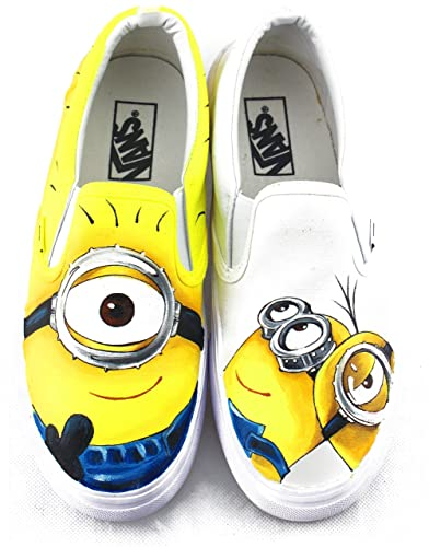 2617101d3e Amazon.com  Minions Vans Despicable Me Hand Painted Canvas Shoes Custom Vans  Slipon Shoes  Handmade