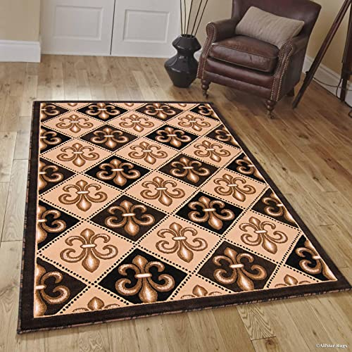 Allstar 8×10 Black Modern Rectangular Accent Rug with Ivory and Mocha Floral Fleur De Lis Diamond Design 7 9 x 9 8