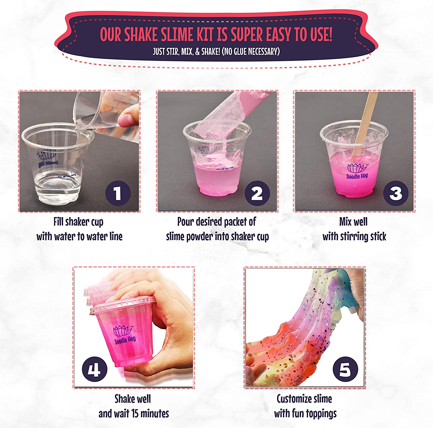 c5b31d760789d No Glue. Shake Slime Kit for Girls and Boys for 10 Kinds of Shaker Slime.  No Mess. Just Add Water, Mix, and Shake. Includes Fun Toppings and  Take-Home ...