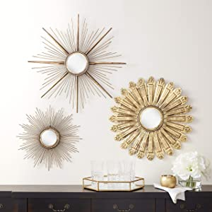 Sunburst Metal Wall Mirror Set of 3, Wall Mirrors for Room Decor & Home Décor, Round Mirrors Sets Wall Décor, Decorative Wall Mirrors Collection