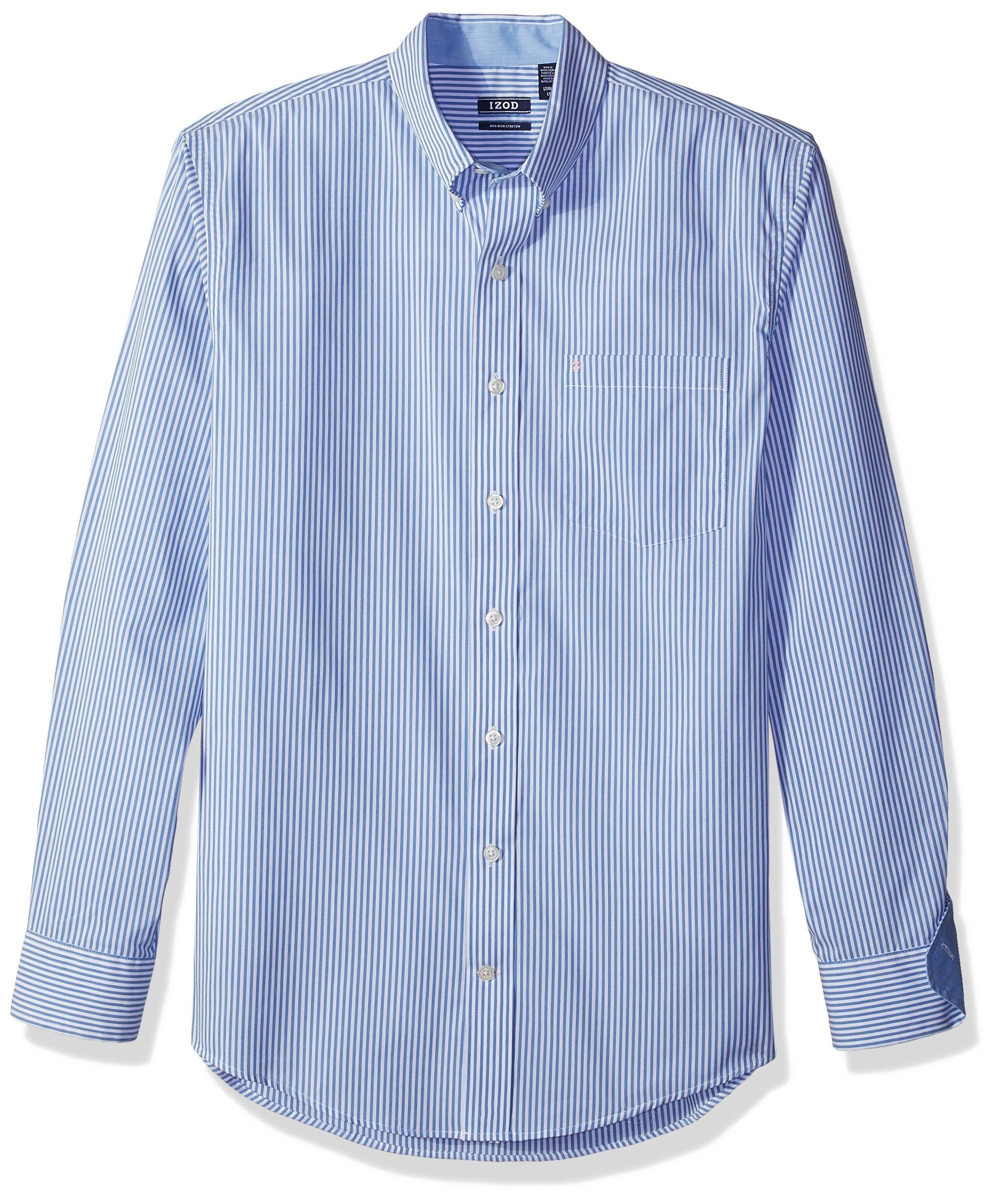 IZOD Men's Big and Tall Advantage Performance Stretch Long Sleeve Shirt, Vivid Mazarine Blue, 2X-Large Big