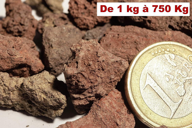 5 kg Pouzzolane paillage et d/écoration /à lint/érieur et /à lext/érieur 5 15 mm pierre de lave rouge pour Jardin