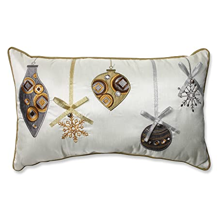 Pillow Perfect Holiday Ornaments Rectangular Throw Pillow, 11.5 x 18.5 , Gold Silver