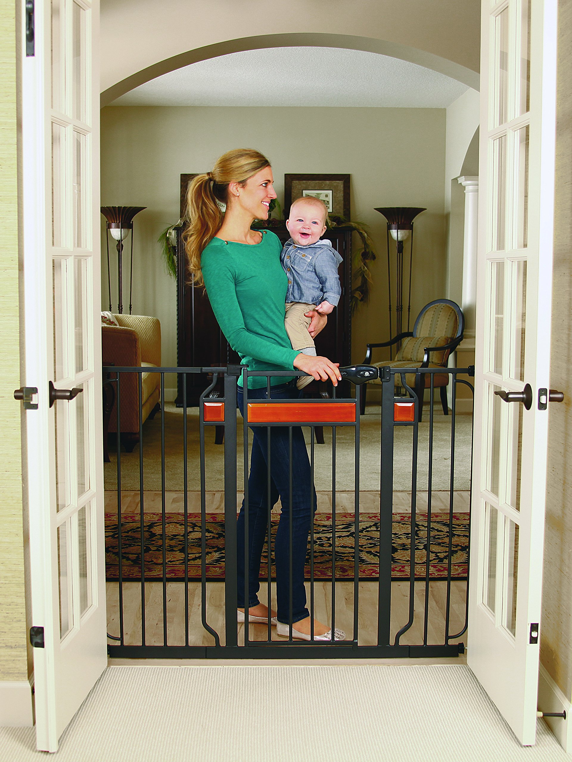 Regalo Home Accents Extra Tall and Wide Baby Gate, Bonus Kit, Includes Décor Hardwood, 4-Inch Extension Kit, 4-Inch Extension Kit, 4 Pack Pressure Mount Kit and 4 Pack Wall Cups and Mounting Kit by Regalo