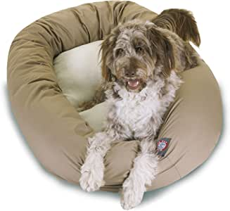 Majestic Pet Poly-Cotton Sherpa Bagel Dog Bed for Dogs & Cats, Calming Donut Dog Bed Cuddler | Washable | Multiple Sizes & Colors