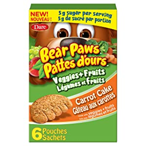 Dare Bear Paws Veggies & Fruit - Carrot Cake, 168g/5.9 oz, Imported from Canada}