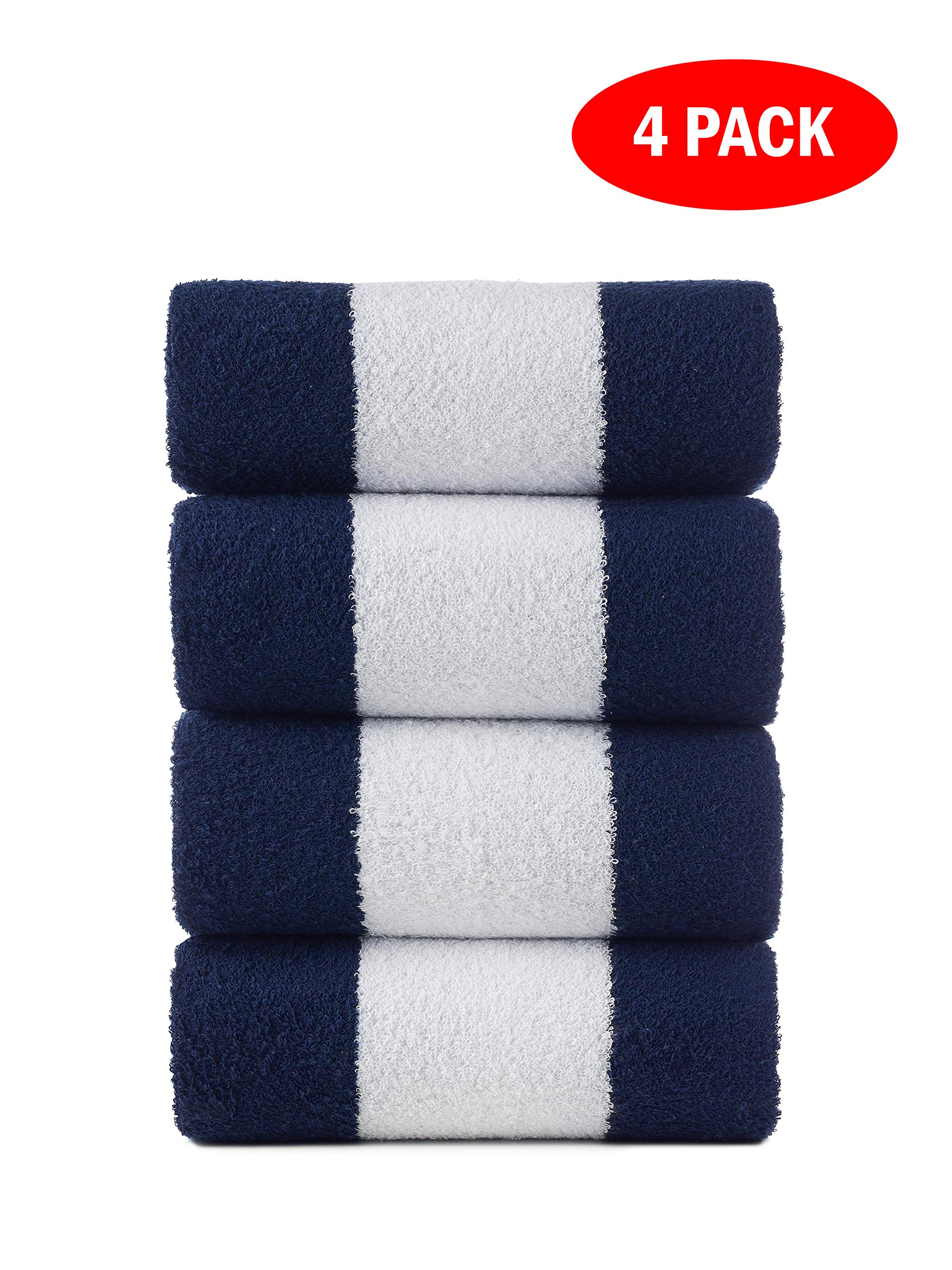 Turquoise Textile 100% Turkish Cotton 4 Pack Cabana Stripe Eco-Friendly Large Beach Pool Towel (30 x 60) - Ultra Soft, Plush, Absorbent and Quick Dry, Navy