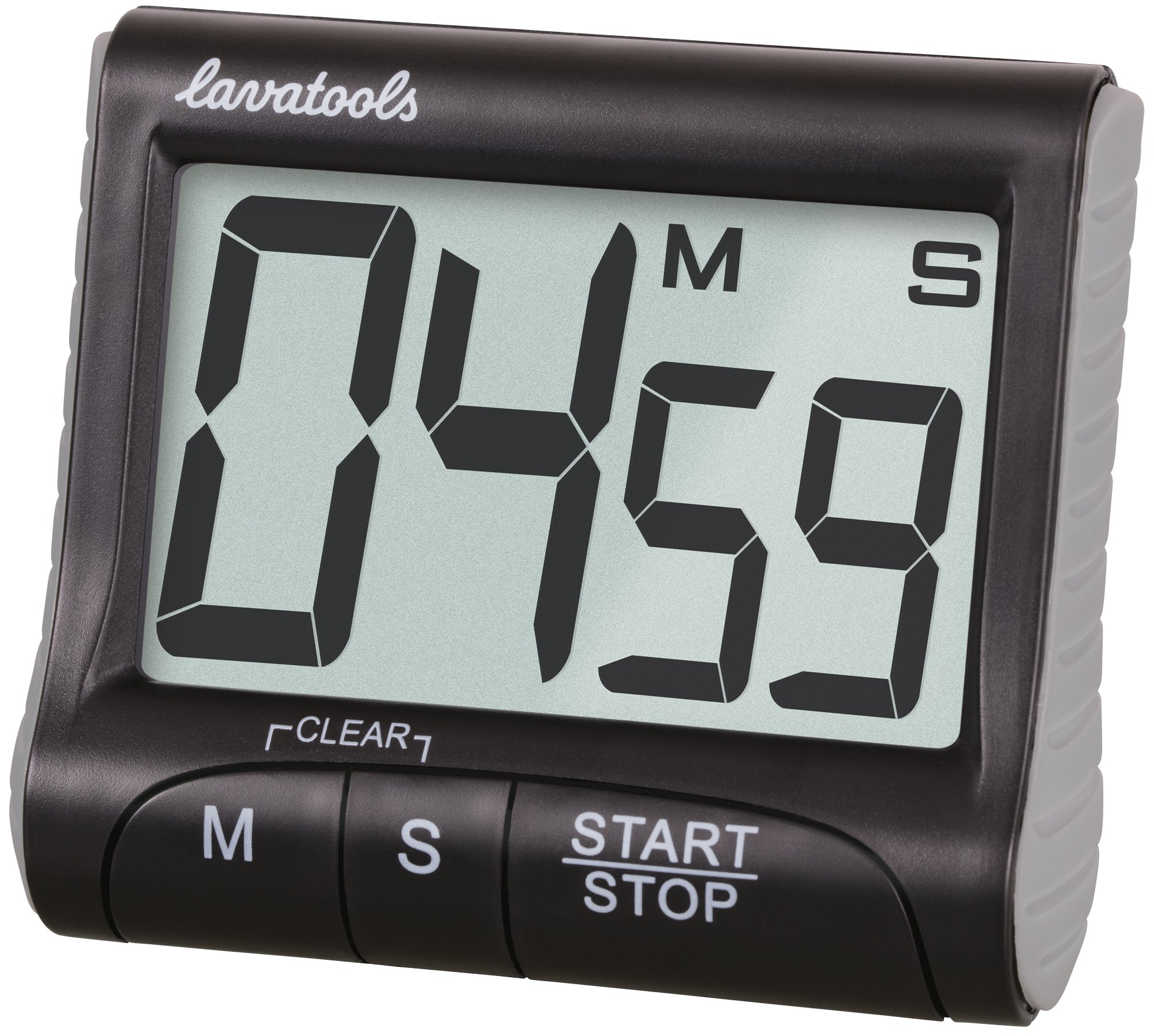 Lavatools KT1 Digital Kitchen Timer & Stopwatch, Large Digits, Loud Alarm, Magnetic Stand (Black) by Lavatools